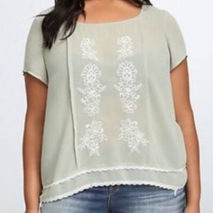 Torrid Embroidered Button Back Sheer Blouse